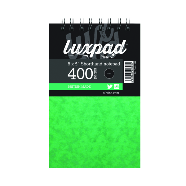 8x5in Silvine Luxpad Spiral Bound Shorthand Notebook 400 Pages 127x203mm (6 Pack) 441-T
