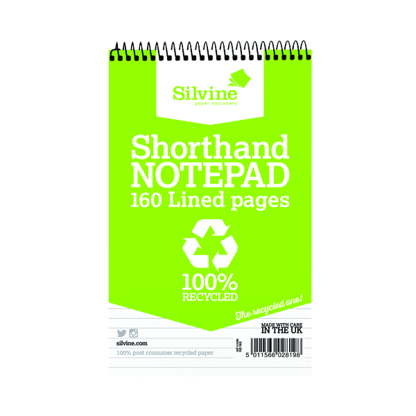 8x5in Silvine Everyday Recycled Spiral Bound Shorthand Notebook 127x203mm (12 Pack) RE160-T