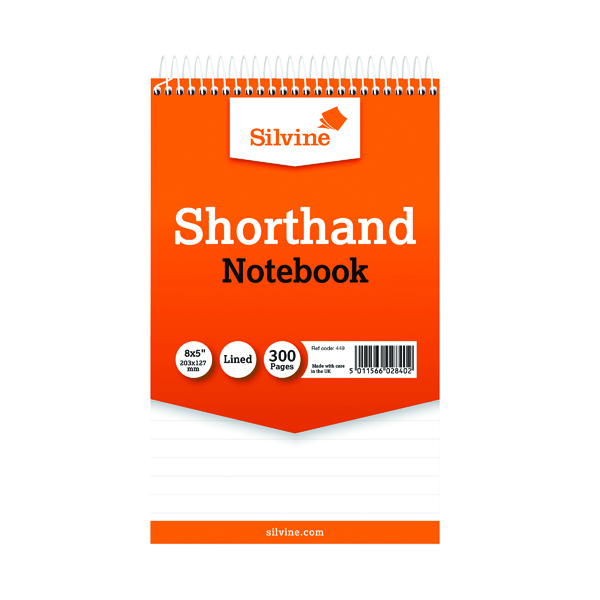 8x5in Silvine Feint Ruled Spiral Bound Shorthand Notebook 300 Pages 127x203mm (6 Pack) 449