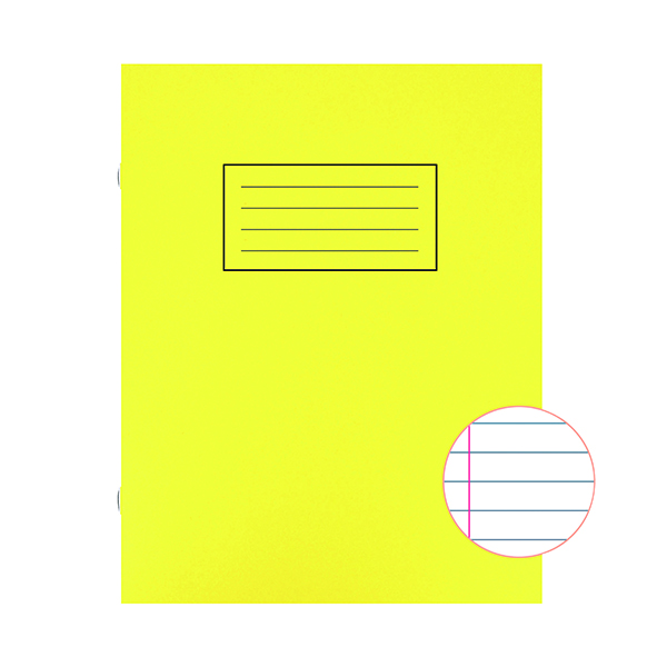 Book Silvine Exercise Book 229 x 178mm Ruled with Margin Yellow (10 Pack) EX103