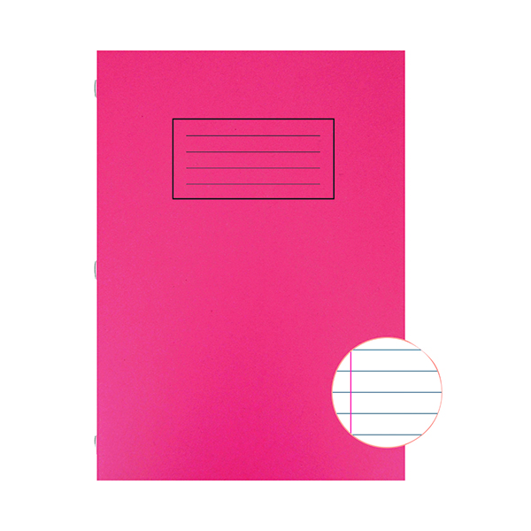 Book Silvine Exercise Book A4 Ruled with Margin Red (10 Pack) EX107
