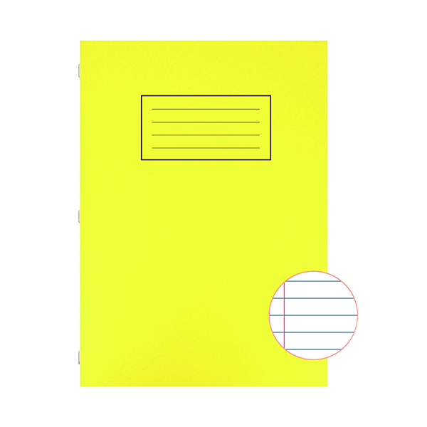 Book Silvine Exercise Book A4 Ruled with Margin Yellow (10 Pack) EX109