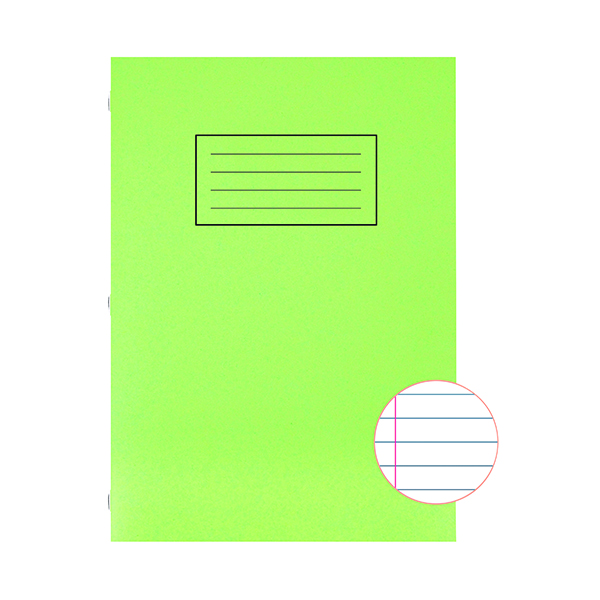 Book Silvine Exercise Book A4 Ruled with Margin Green (10 Pack) EX110
