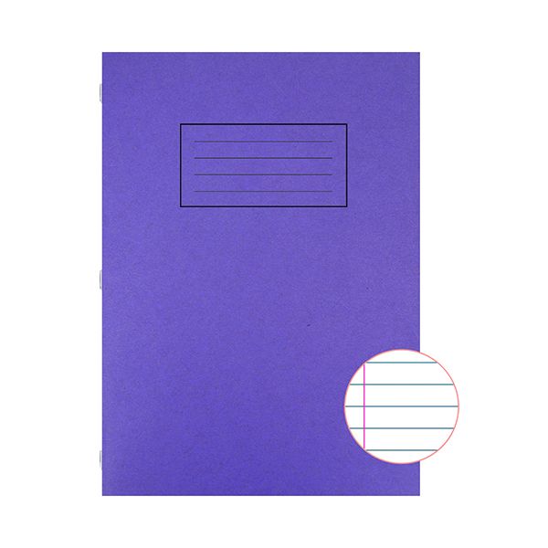 Book Silvine Exercise Book A4 Ruled with Margin Purple (10 Pack) EX111