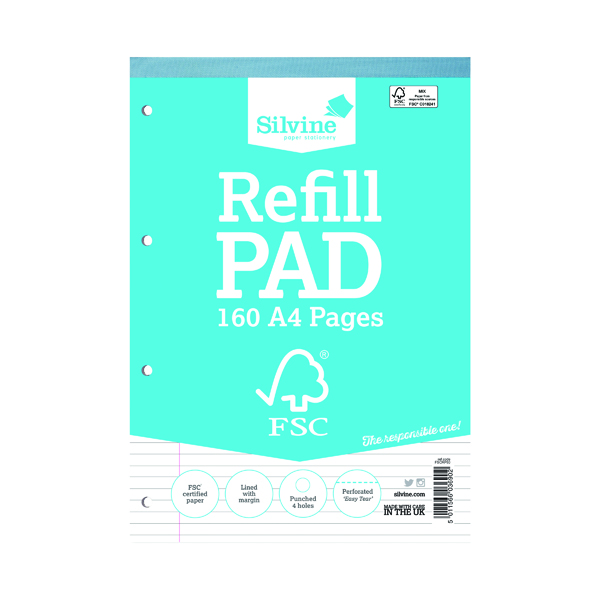 Silvine Envrionmentally Friendly Ruled Refill Pad 160 Pages A4 (5 Pack) FSCRP80