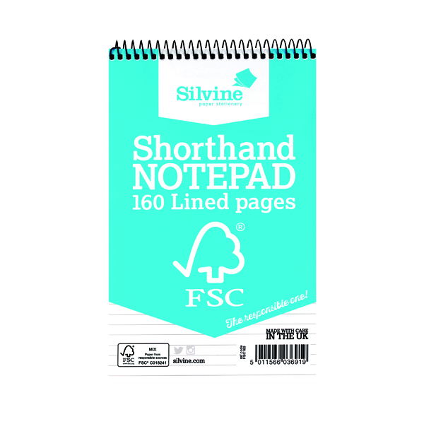 8x5in Silvine Envrionmentally Friendly Shorthand Notebook 160 Pages 127x203mm (10 Pack) FSC160