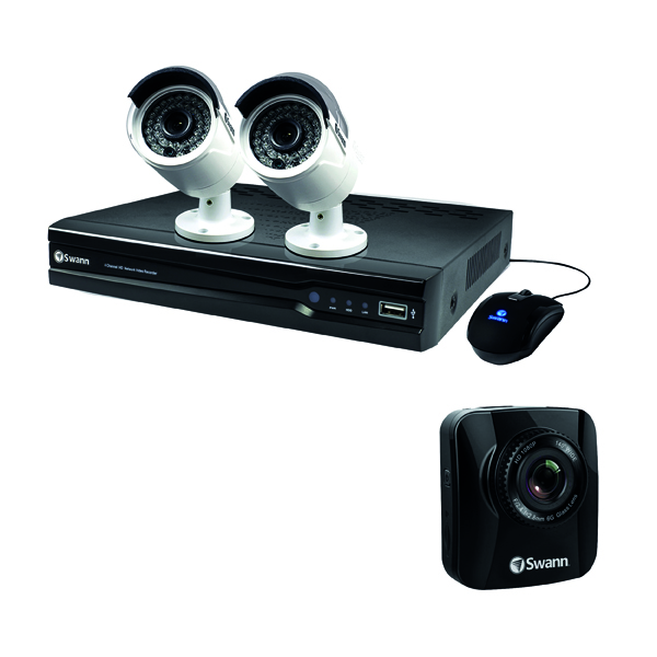 Video (Digital) Swann 4 Channel 2 Camera NVR CCTV Kit + Free Dash Cam SWN800001