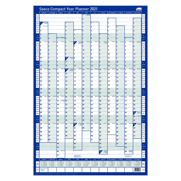 Unmounted Sasco Compact Year Planner Portrait Unmounted 2021 2410133