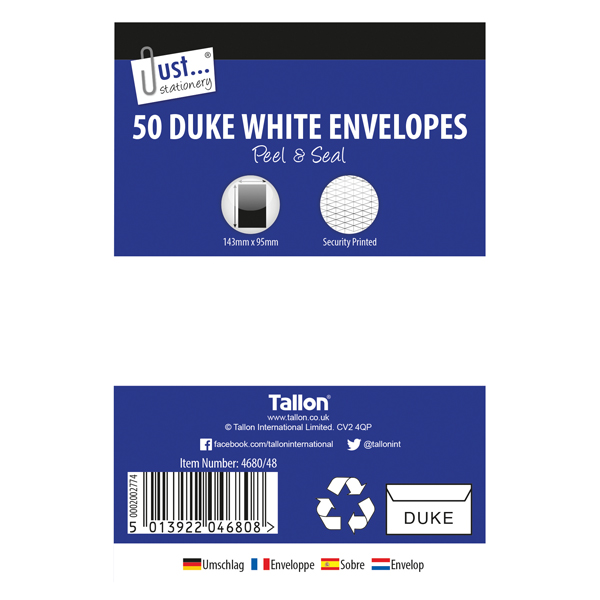 Unspecified Tallon Duke White 50 Peel & Seal Envelopes (12 Pack) TA04680