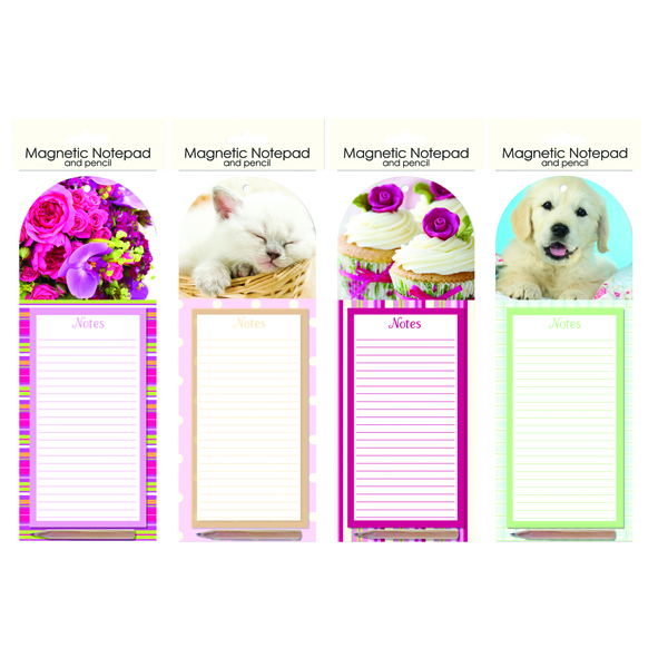Coloured Just Stationery Magnetic Notepad and Pencil (12 Pack) 5505