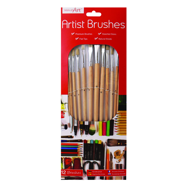 Work of Art Natural Bristle Artist Brushes Flat Tip (12 Pack) TAL06717