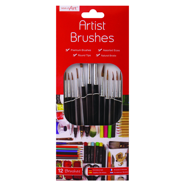 Brushes & Rollers Work of Art Natural Bristle Artist Brushes Flat Tip Black (12 Pack) TAL06717