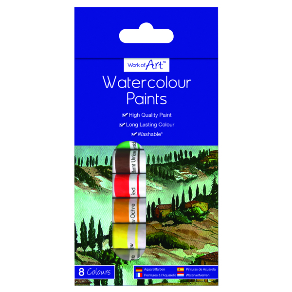 Work of Art Washable Watercolour Paint Tubes Assorted (12 Pack) TAL06741