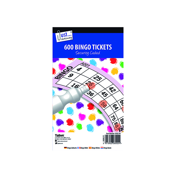Unspecified Just Stationery Jumbo Bingo Tickets 21 x 12cm (12 Pack) 8002