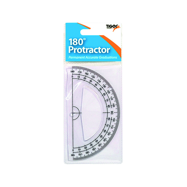 Geometry, etc Tiger 180 Degree Clear Plastic Protractor (12 Pack) 300957