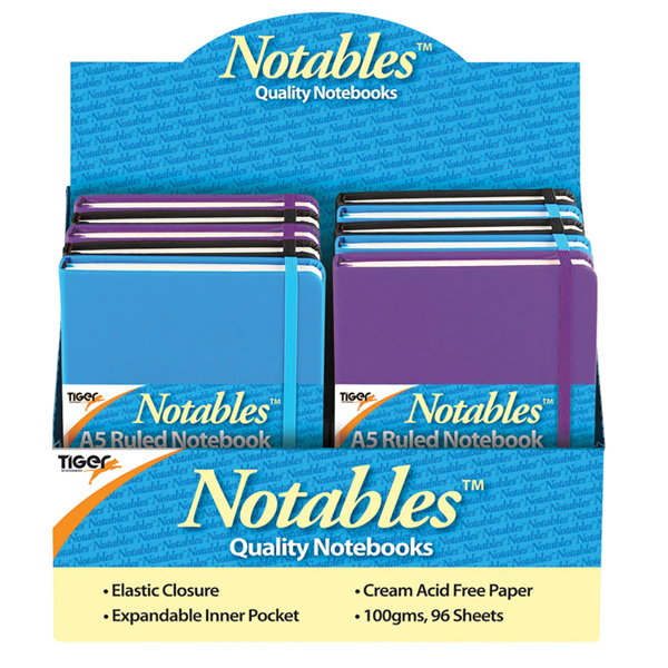 Notables A5 Ruled Casebound Notebook 96 Sheets Assorted (10 Pack) 301354