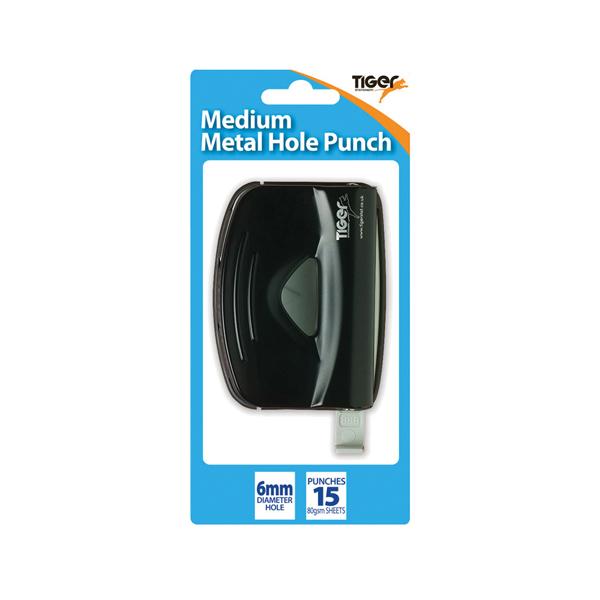 Tiger Medium Metal 2 Hole Punch, Black (6 Pack) 301517