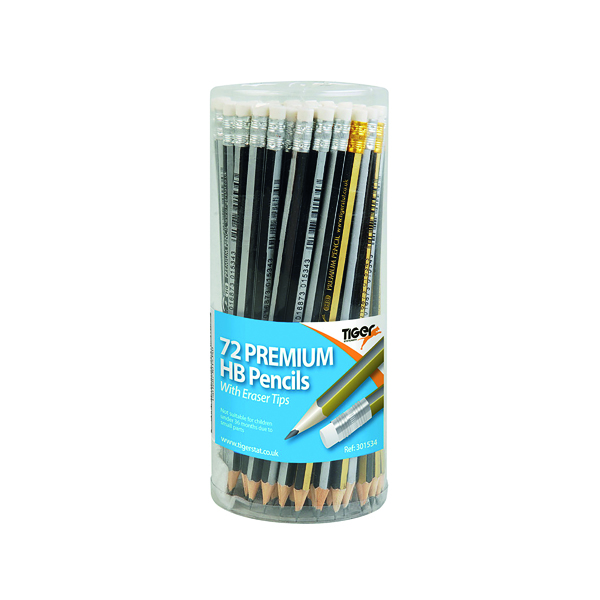 Black Lead Tiger Assorted HB Eraser Pencils Pot (72 Pack) 301534