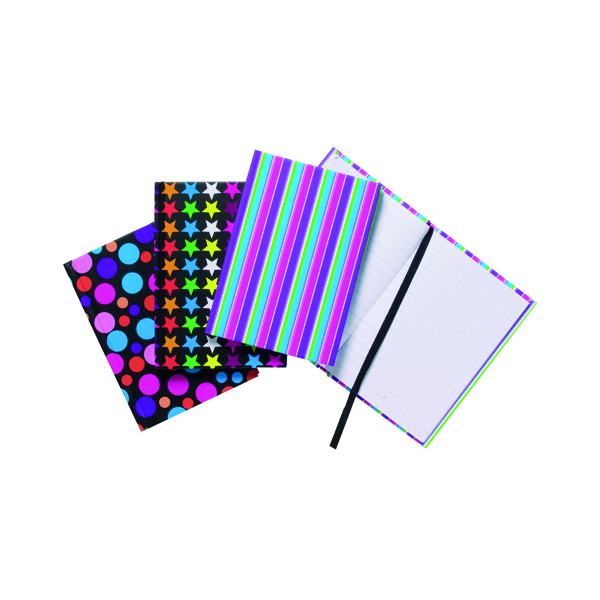 A6 Fashion Assorted Feint Ruled Casebound Notebooks (10 Pack) 301642