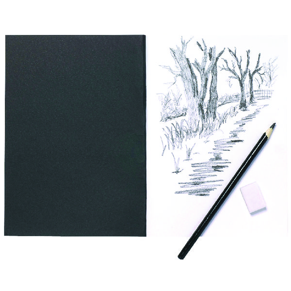 A5 A5 Black Softback Cover Sketch Book 40 Pages (5 Pack) 301727