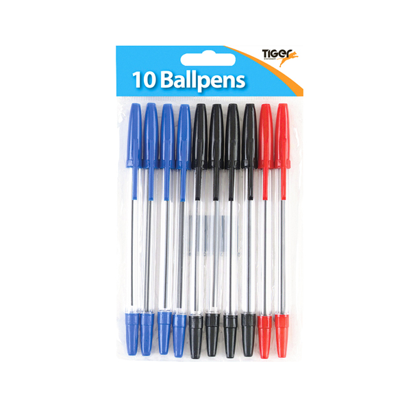 Assorted Tiger Ballpoint Pens, Black, Blue and Red (20 Pack) 302011