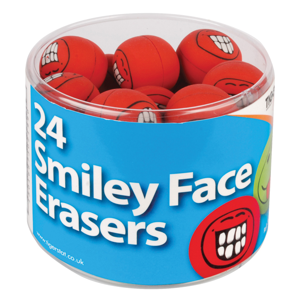 Tiger Assorted Smiley Face Erasers (24 Pack) 302199
