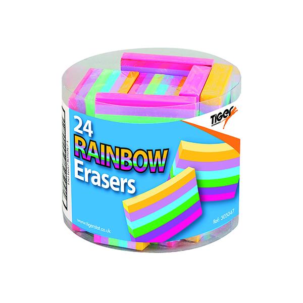 Rainbow Coloured Block Erasers (24 Pack) 305047