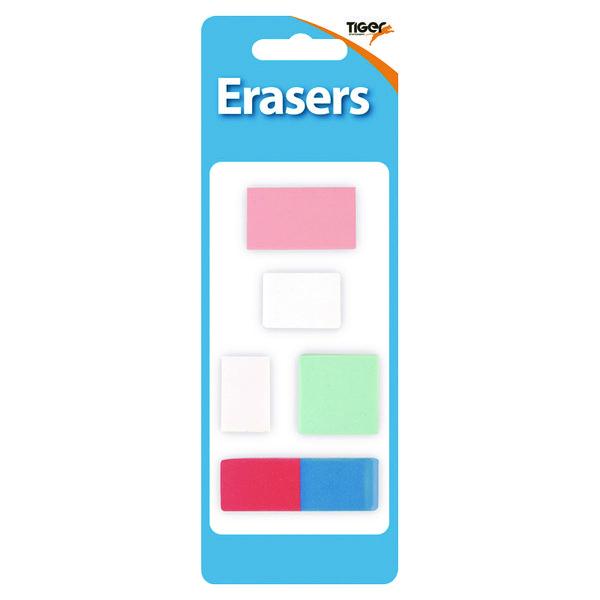 Tiger Assorted Design Erasers (60 Pack) 302022