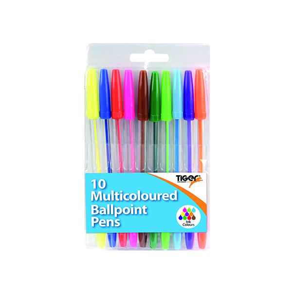 Assorted Ballpoint Pens 10 Multicoloured (12 Pack) 302256