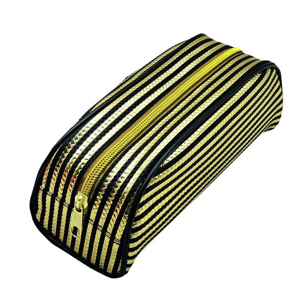 Metallic Striped Pencil Case Gold/Purple (12 Pack) 302376