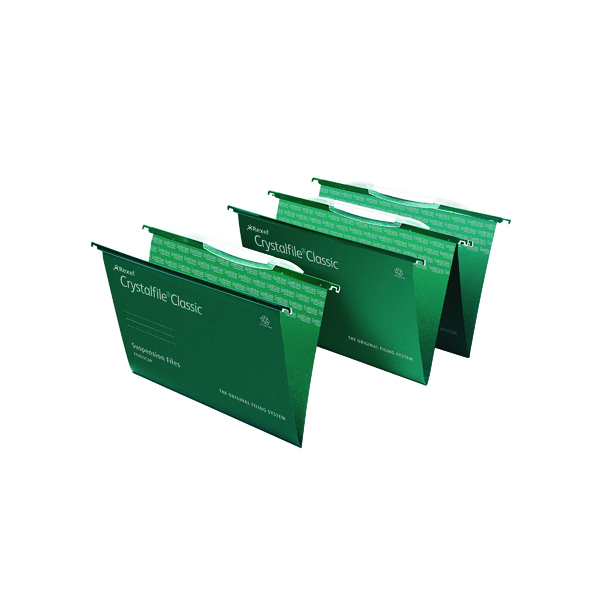 Rexel Crystalfile Classic Suspension File with Crystal Links Foolscap Green (50 Pack) 3000030