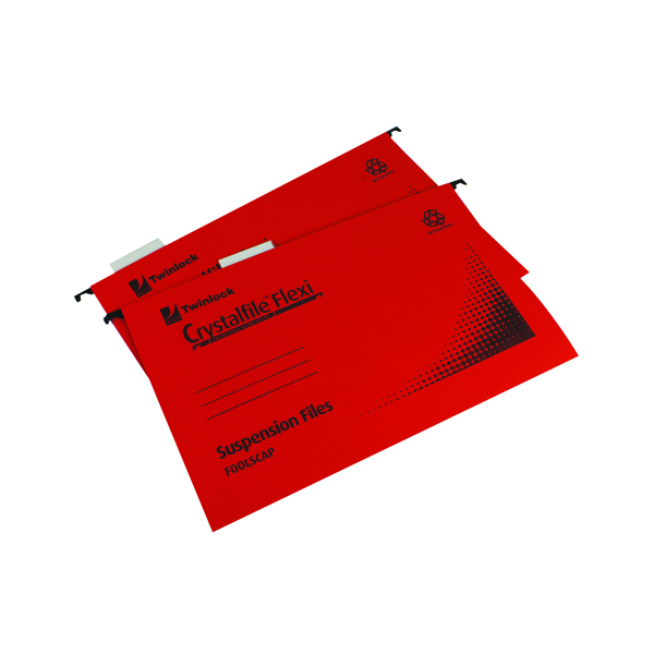 Suspension File Rexel Crystalfile Flexi Standard Foolscap Red (50 Pack) 3000042