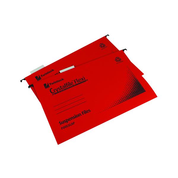 Rexel Crystalfile Flexi Standard Foolscap Red (50 Pack) 3000042
