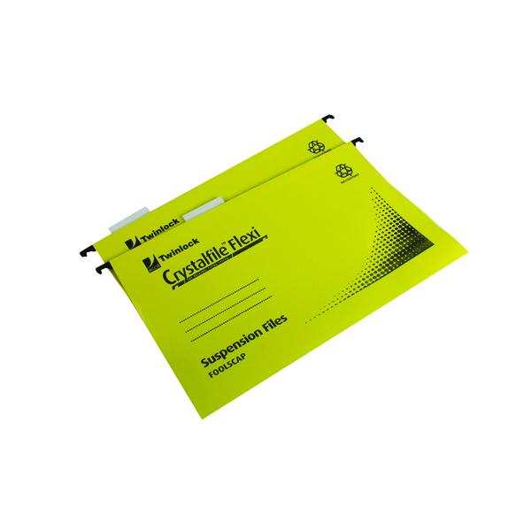 Rexel Crystalfile Flexi Standard Foolscap Yellow (50 Pack) 3000043