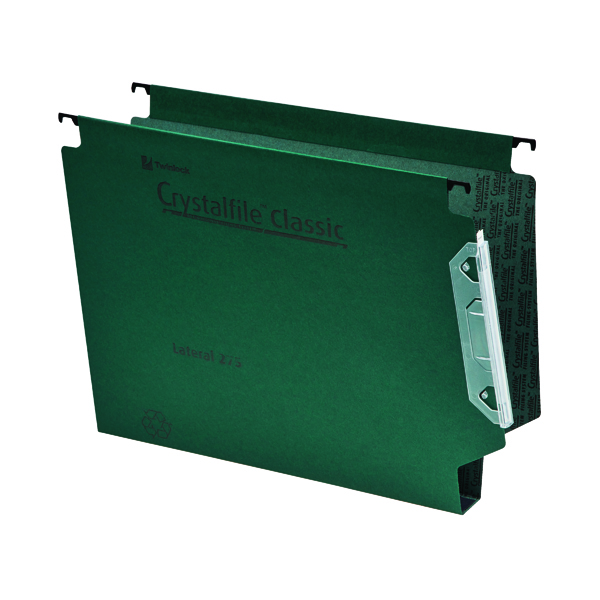 Rexel Crystalfile Classic 30mm Lateral File 300 Sheet Green (25 Pack) 3000109