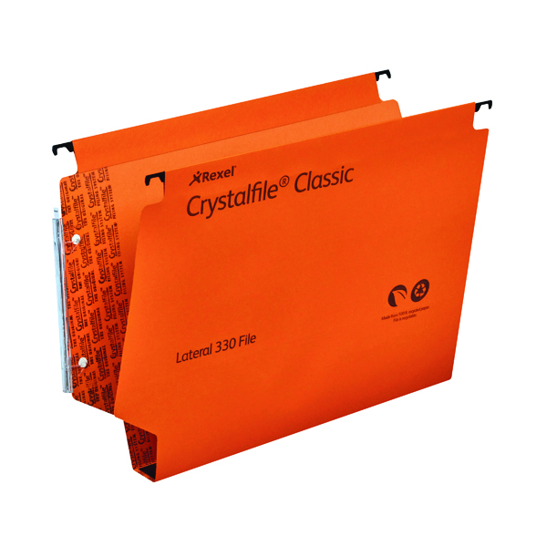 Rexel Crystalfile Classic 30mm Lateral File 300 Sheet Orange (25 Pack) 3000110