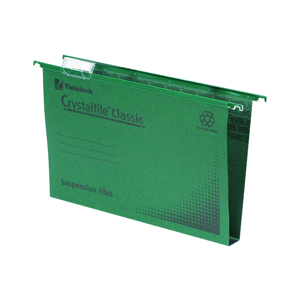 Rexel Crystalfile Classic Suspension File 30mm A4 Green (50 Pack) 70621