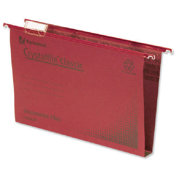 Rexel Crystalfile Classic Suspension File 30mm Foolscap Red (50 Pack) 70622