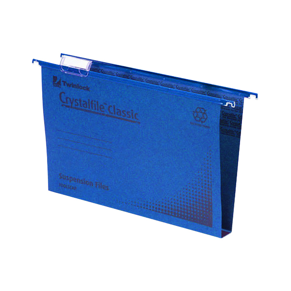 Rexel Crystalfile Classic Suspension File 30mm Foolscap Blue (50 Pack) 70625