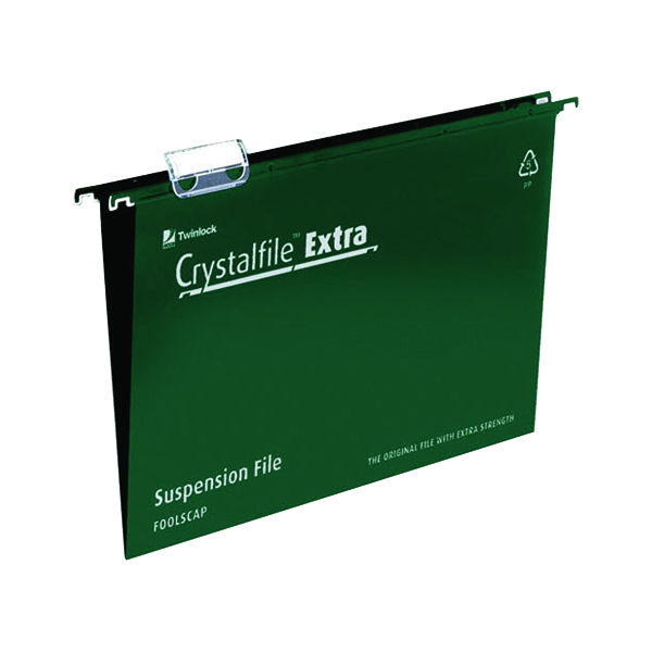 Rexel Crystalfile Extra 15mm Suspension File Foolscap Green (25 Pack) 70628