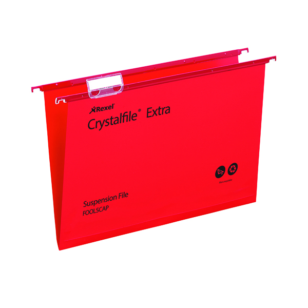 Rexel Crystalfile Extra 15mm Suspension File Foolscap Red (25 Pack) 70629