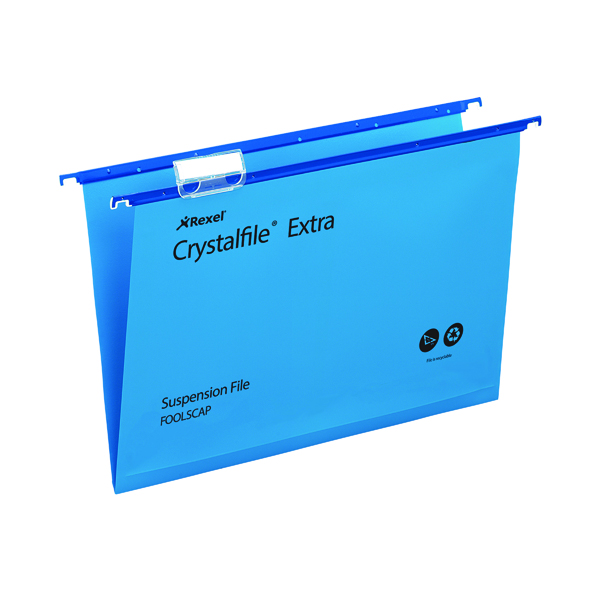 Suspension File Rexel Crystalfile Extra 15mm Suspension File Foolscap Blue (25 Pack) 70630
