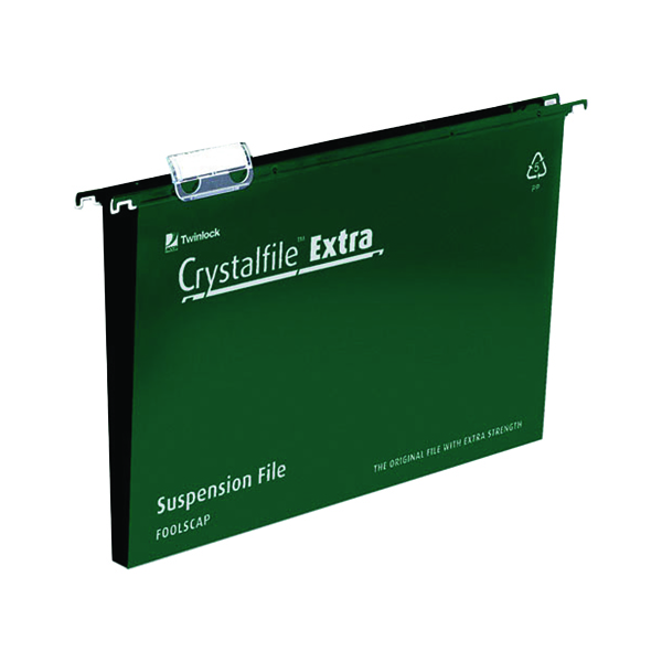 Rexel Crystalfile Extra 30mm Suspension File Foolscap Green (25 Pack) 70631