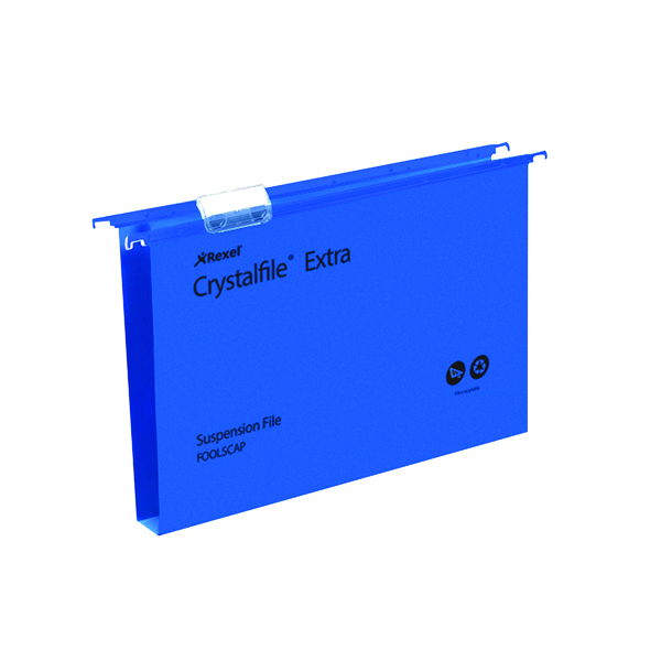 Rexel Crystalfile Extra 30mm Suspension File Foolscap Blue (25 Pack) 70633
