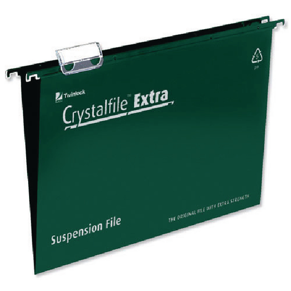 Rexel Crystalfile Extra 15mm Suspension File A4 Green (25 Pack) 70634