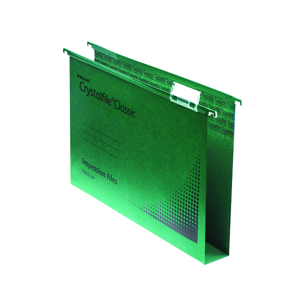 Rexel Crystalfile Extra 30mm Lateral File 300 Sheet Green (25 Pack) 70640