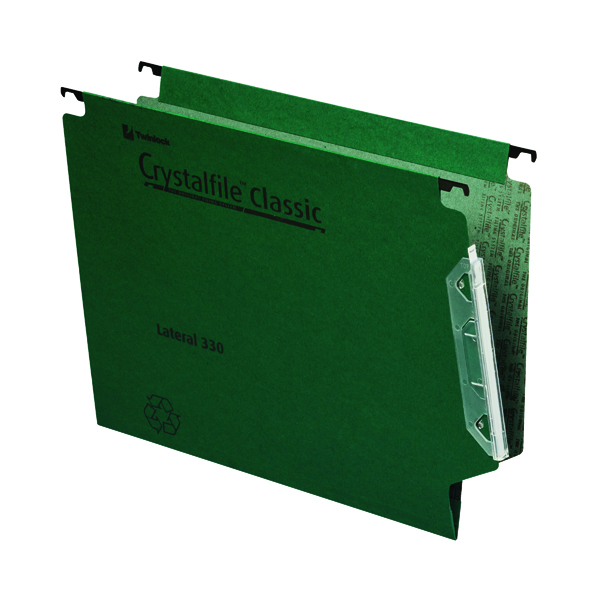 Rexel Crystalfile Classic 15mm Lateral File 150 Sheet Green (50 Pack) 70670