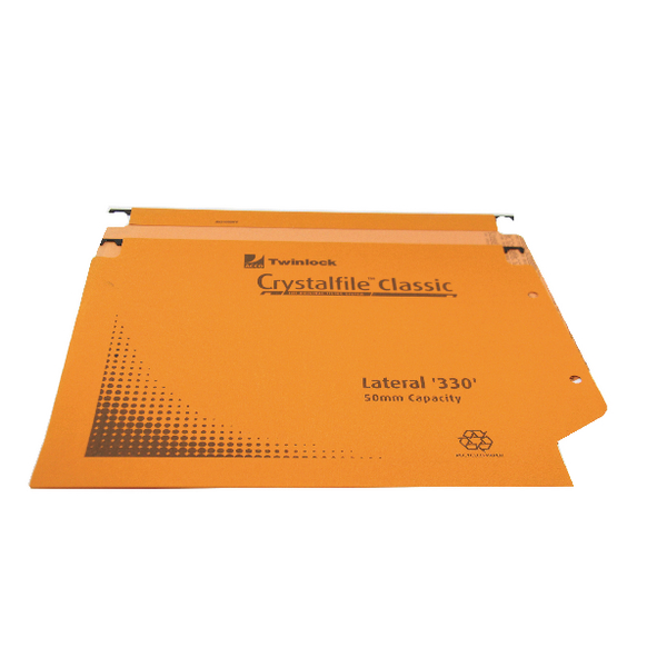 Rexel Crystalfile Classic 50mm Lateral File 500 Sheet Orange (25 Pack) 70673