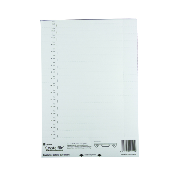Rexel CrystalFile Lateral 330 Tab Inserts White (34 Pack) 70676