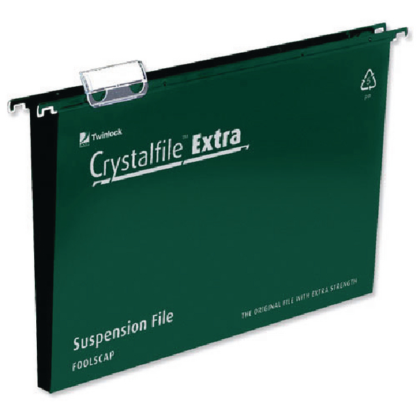 Suspension File Rexel CrystalFile Extra 30mm Suspension File A4 Green (25 Pack) 71759